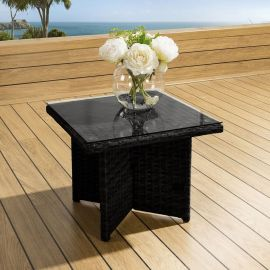 Luxury Outdoor Garden Square End Coffee Table Black Rattan Clear Glass