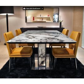 Stunning Marble Effect Glass Topped Dining Table Gual 2.2 x 1.1Mtr