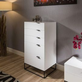 Quatropi Designer Tallboy / Chest of 5 Drawers / Cabinet  White Gloss