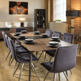 Extending Dining Set Walnut / Grey Table and 8 Grey Quilted Chairs