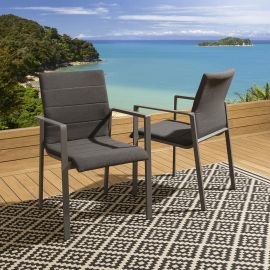 Set of 2 Luxury Outdoor Garden Stackable Dining Chairs Grey Frame & Cushion Navagio