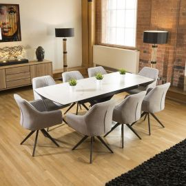 Dining Table White Marble Ceramic Extends + 8 Light Grey Carver Chairs