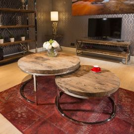 Stunning Round Pair of Coffee Tables Reclaimed Hardwood 92 + 76cm New