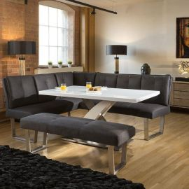 Stylish White Glass Top Table Corner Dining Set +L Shape Bench in Grey
