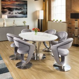 Round White Italian Ceramic Dining Table Extends +6 Velvet Grey Chairs