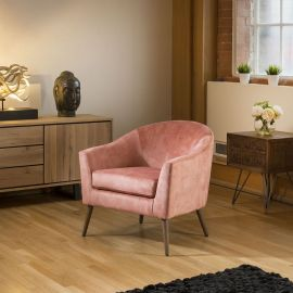 Lovely On Trend Vintage Velvet Pink Fabric Armchair Chair Wooden Legs