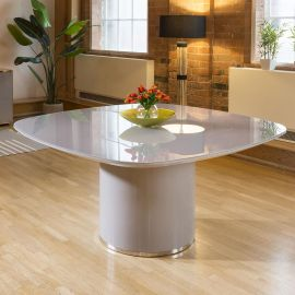 Stunning Quatropi Large Square Dining Table Grey Gloss Glass Top