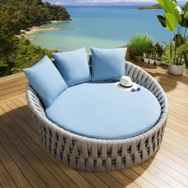 Luxury Round Garden Daybed Grey Rope Blue Cushions Cover