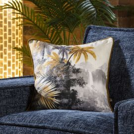 Linen Tropical Jungle Print Scatter Cushion 450mm Square Grey Ochre