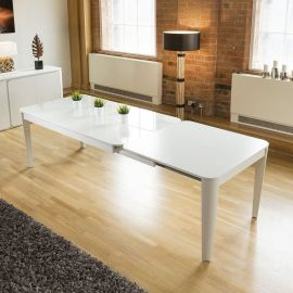 Luxury Boston Rectangular Extending Dining Table White Oak Glass Top