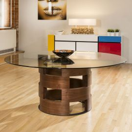 Modern Funky Large Round Walnut and Clear Glass Dining Table 1800mm