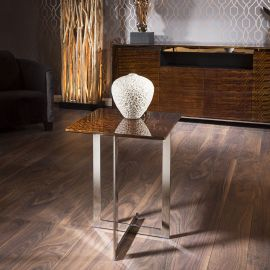 Modern Designer Square End / Side Table Golden Teak / Stainless Steel
