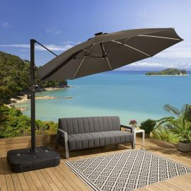 Luxury Grey Round Rotating Parasol Umbrella 3m With Solar Light