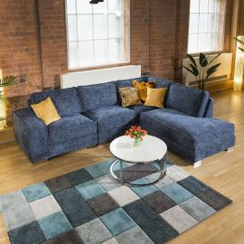 Huge L Shape Soft Deep Sofa Saphire Blue Fabric Lexci 4R In Stock