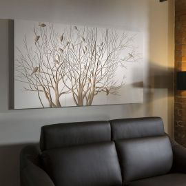 Stunning White Hand Crafted Wooded Wall Artwork Tree Birds 1800x1000mm