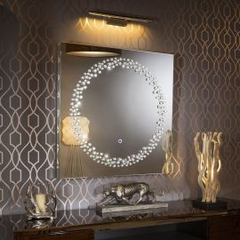 Modern Square Designer Wall Mounted Feature Mirror with LED Light 1m
