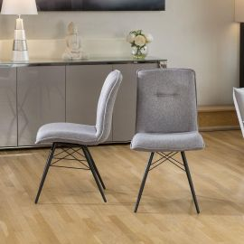 Set of 2 Dining Chairs Light Grey Fabric Black Powder Coated Legs 9137