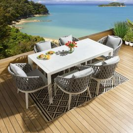 Outdoor Luxury Glass Dining Set 1800 +6x White / Grey Rope Back Chairs