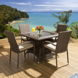 Outdoor Dining Set Square Table 4 Armed Brown Chairs Beige Cushions Crane Beach