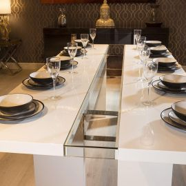 Quatropi Luxury Large 12 Seater 240cm Dining Table White Gloss / Glass
