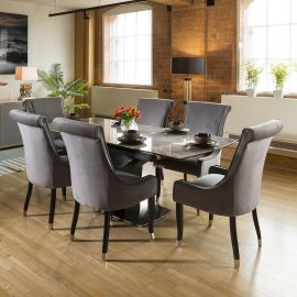 Grey Ceramic Extending Dining Table + 6 Grey Tall Chairs 61402