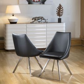 Set of 2 Large Stunning Comfy Thick Padded Luxury Black Dining Chairs