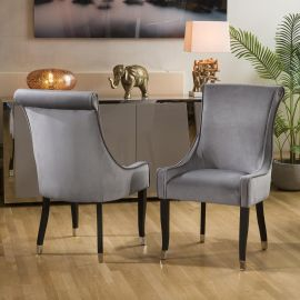 Stunning Pair of Contemporary Dining Chairs Grey with Black Legs