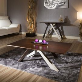 Luxury Modern Designer Walnut top Modern Coffee Table Steel Legs New