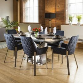 Ceramic 1800 Grey Dining Table Set + 6 Blue Chairs 1649