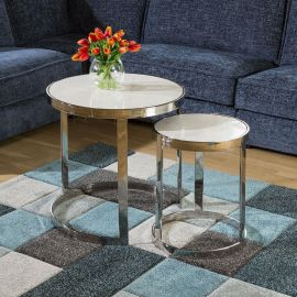 Pair of Nesting Side Tables White Marble Stainless Frame Round