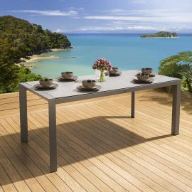 Glass Top Grey Outdoor Luxury Dining Table 180x90cm Quatropi Garden Navagio