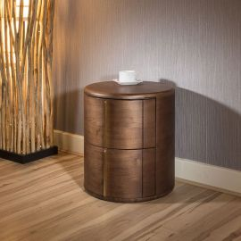 Quatropi Round Bedside Table / Nightstand / Lamp Table in Dark Walnut