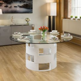 Modern Funky Large Round White Oak and Clear Glass Dining Table 1600mm