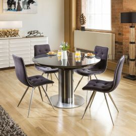 Extending Round Oval Dining Set Grey Gloss/Glass Top Table 4x1515 Grey