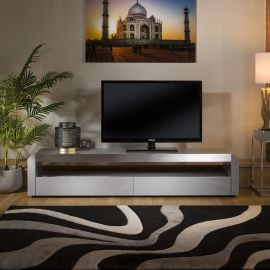 Modern Grey TV Cabinet Grey Gloss 200 cm Unit / Stainless with Glass Top