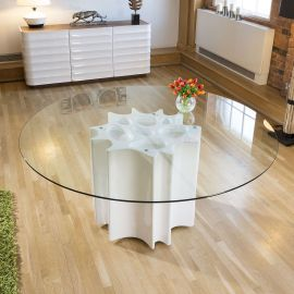 Modern Stunning Dining Table in White High Gloss with Clear Glass 1.8