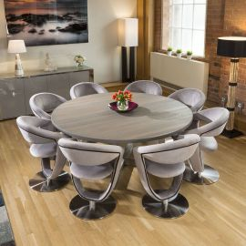 Large Round 1.8 Grey Oak Dining Table + 8 Grey Velvet Rotating Chairs