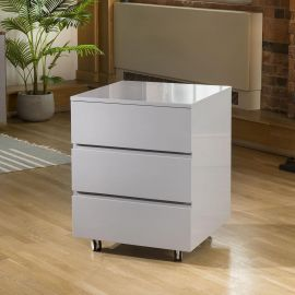 Quatropi Designer Linea Chest Of 3 Drawer Grey Gloss 3 Drawers & Wheels