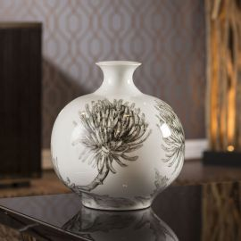 Beautifully Crafted Large Round White Ceramic Vase Ornament Gift 14282