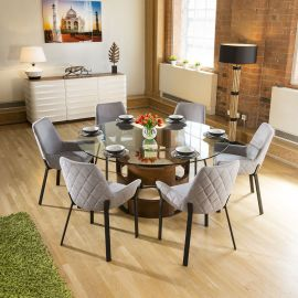 Huge Round Glass Top Walnut Dining Table set + 6 Light Grey Chairs
