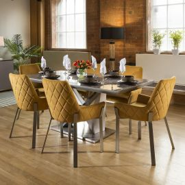 Ceramic 1800 Grey Dining Table Set + 6 Mustard Chairs 1649