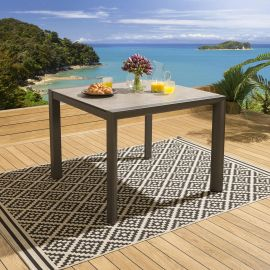 Ceramic Glass Aluminium 1m Square Patio Garden Dining Table Black Taupe