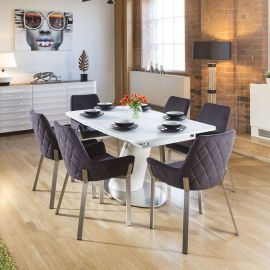 Dining Set White Glass Top Extending Table + 6 Dark Grey Carver Chairs