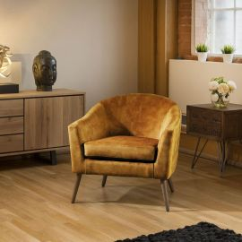Lovely On Trend Vintage Velvet Mustard Fabric Armchair Chair Wooden Legs