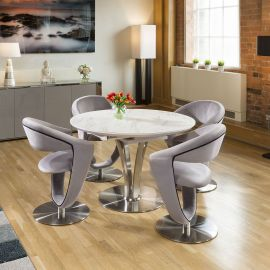 Round White Italian Ceramic Dining Table Extends +4 Velvet Grey Chairs