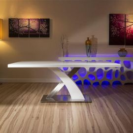 Modern Dining Table White glass Top / White Gloss X Base 2mtr x1mtr