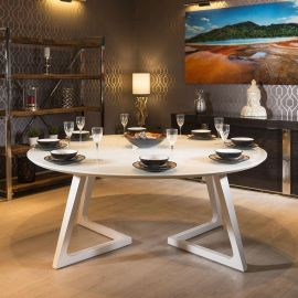 Quatropi Massive 180cm Luxury Round Dining Table White Gloss Glass Top