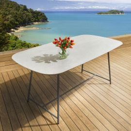 Ceramic Rectangular 8 Seater Dining Table Indoor Outdoor Concrete Grey