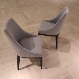 Set of 2 Luxury Soft Grey Fabric Black Wooden Frame Dining Chairs