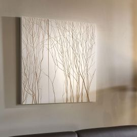 Huge Wall Art Artwork Hand Carved Wood White Tree Branches 900 x 900mm